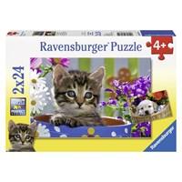 """Ravensburger (08971) - """"Cat and Dog"""" - 24 brikker puslespil"""