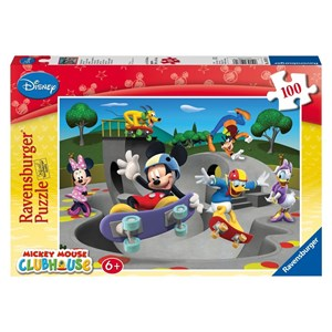 """Ravensburger (10871) - """"Mickey and his friends are making the skateboard"""" - 100 brikker puslespil"""