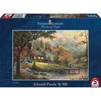 "Schmidt Spiele (58465) - Thomas Kinkade: ""Idyll at riverside"" - 500 brikker puslespil"