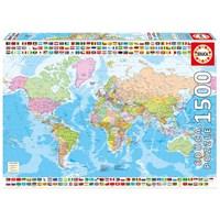 "Educa (17117) - ""Political World Map"" - 1500 brikker puslespil"