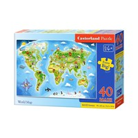 "Castorland ( B-040117) - ""World Map"" - 40 brikker puslespil"