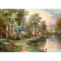 "Schmidt Spiele (57452) - Thomas Kinkade: ""The House near the Lake"" - 1500 brikker puslespil"
