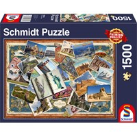"""Schmidt Spiele (58343) - """"Greetings from All Over the World"""" - 1500 brikker puslespil"""