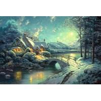 "Schmidt Spiele (58453) - Thomas Kinkade: ""Christmas Moonlight"" - 1000 brikker puslespil"
