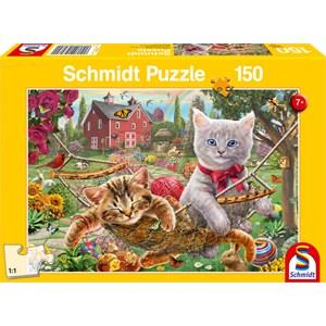 """Schmidt Spiele (56289) - """"Kattunge i haven"""" - 150 brikker puslespil"""