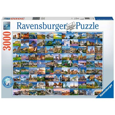"Ravensburger (17080) - ""99 Vackra Platser i Europa"" - 3000 brikker puslespil"