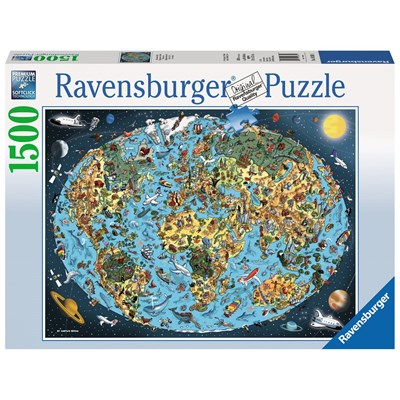 "Ravensburger (16360) - ""Cartoon Earth"" - 1500 brikker puslespil"