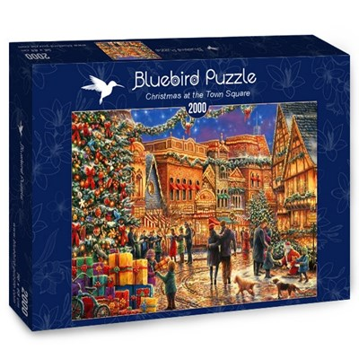"""Bluebird Puzzle (70057) - Chuck Pinson: """"Christmas at the Town Square"""" - 2000 brikker puslespil"""
