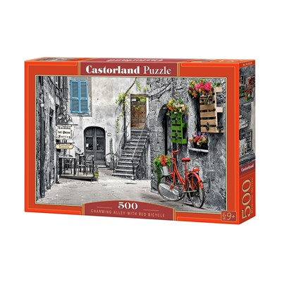 "Castorland (B-53339) - ""Charming Alley with Red Bicycle"" - 500 brikker puslespil"