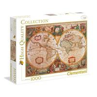 "Clementoni (31229) - ""Antik verdenskort"" - 1000 brikker puslespil"