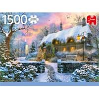 """Jumbo (18830) - """"Whitesmith's Cottage in Winter"""" - 1500 brikker puslespil"""