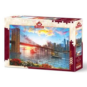 "Art Puzzle (5185) - ""Sunset on New York"" - 1000 brikker puslespil"