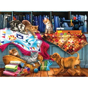 "SunsOut (28874) - Tom Wood: ""Quilting Room Mischief"" - 1000 brikker puslespil"