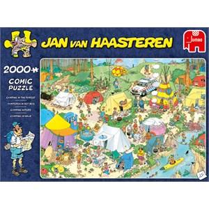 """Jumbo (19087) - Jan van Haasteren: """"Camping I Skov"""" - 2000 brikker puslespil"""