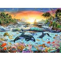"Ravensburger (12804) - Adrian Chesterman: ""Orca Paradise"" - 200 brikker puslespil"