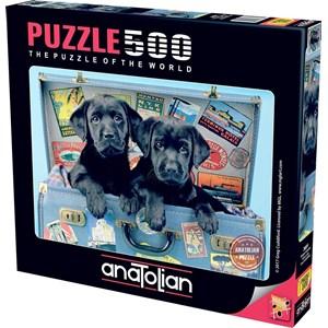 """Anatolian (3601) - """"Labrador hunde i kuffert"""" - 500 brikker puslespil"""