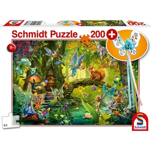 "Schmidt Spiele (56333) - ""Fairy in the Woods Including Fairy Wand"" - 200 brikker puslespil"