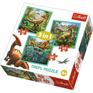 "Trefl (34837) - ""The extraordinary world of dinosaur"" - 20 36 50 brikker puslespil"