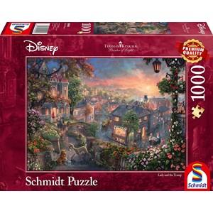 "Schmidt Spiele (59490) - Thomas Kinkade: ""Disney Lady and the Tramp"" - 1000 brikker puslespil"
