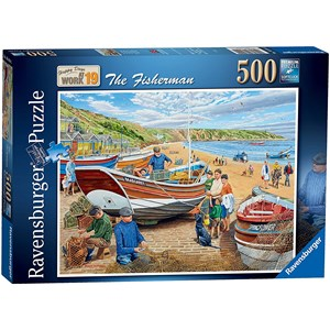 "Ravensburger (16414) - Trevor Mitchell: ""Happy Days at Work"" - 500 brikker puslespil"