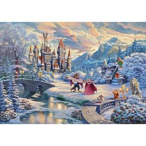 "Schmidt Spiele (59671) - Thomas Kinkade: ""Disney Beauty and the Beast Magical Winter Evening"" - 1000 brikker puslespil"