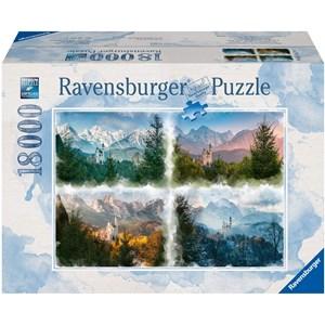 "Ravensburger (16137) - ""Eventyrslot i 4 sæsoner (Neuschwanstein)"" - 18000 brikker puslespil"