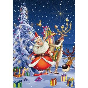 "Piatnik (5495) - François Ruyer: ""Happy Santa"" - 1000 brikker puslespil"