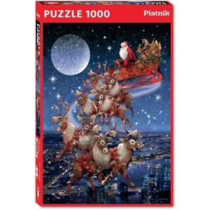 """Piatnik (5497) - """"Santa's Flying Sleigh"""" - 1000 brikker puslespil"""