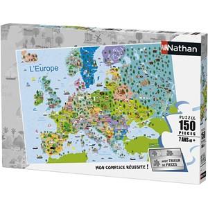 """Nathan (86835) - """"Kort over Europa"""" - 150 brikker puslespil"""