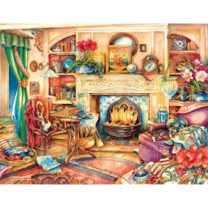 """SunsOut (23447) - Kim Jacobs: """"Fireside Embroidery"""" - 1000 brikker puslespil"""