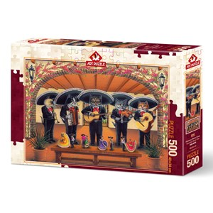 """Art Puzzle (5082) - Don Roth: """"Flamenco Meow Team"""" - 500 brikker puslespil"""