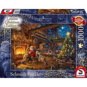 "Schmidt Spiele (59494) - Thomas Kinkade: ""Santa Claus and His Secret Helper"" - 1000 brikker puslespil"