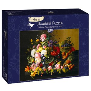 "Bluebird Puzzle (60030) - Severin Roesen: ""Still Life, Flowers and Fruit, 1855"" - 1000 brikker puslespil"