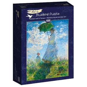"""Bluebird Puzzle (60039) - Claude Monet: """"Woman with a Parasol, Madame Monet and Her Son"""" - 1000 brikker puslespil"""