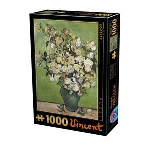 """D-Toys (75871) - Vincent van Gogh: """"Vincent Van Gogh, Pink Roser"""" - 1000 brikker puslespil"""