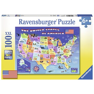 "Ravensburger (10936) - Greg Giordano: ""USA State Map"" - 100 brikker puslespil"