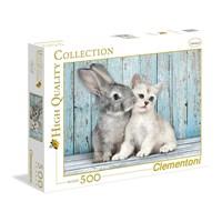 "Clementoni (35004) - ""Cat & Bunny"" - 500 brikker puslespil"