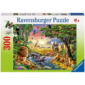 "Ravensburger (13073) - Adrian Chesterman: ""Evening at the Waterhole"" - 300 brikker puslespil"