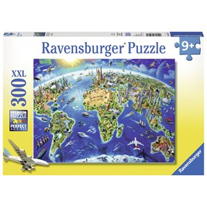 "Ravensburger (13227) - Adrian Chesterman: ""World Landmarks Map"" - 300 brikker puslespil"